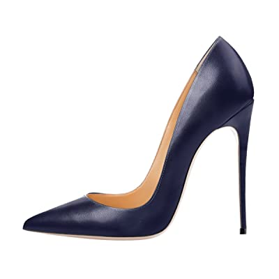 QianZuLian women's Pointed Toe Shallow Big Size High Heel Stilettos Pumps for Party office