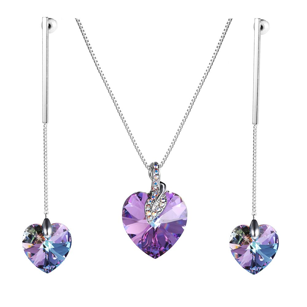 Xuping Fancy Love Heart Pendant Long Earrings with Box Crystals from Swarovski Charm Jewelry Set Women Cyber Monday Gifts (Purple)