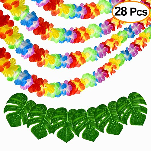 Tropical Flowers Aloha (FEPITO 4 Pack Hawaiian Flower Lei Garland Luau Tropical Flower Garland Banner 12m/39ft with 24 PCS Artificial Tropical Palm Leaves for Tropical Party Decorations Jungle Beach Aloha Party Supplies)