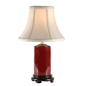 Small Red Porcelain Accent Table Lamp