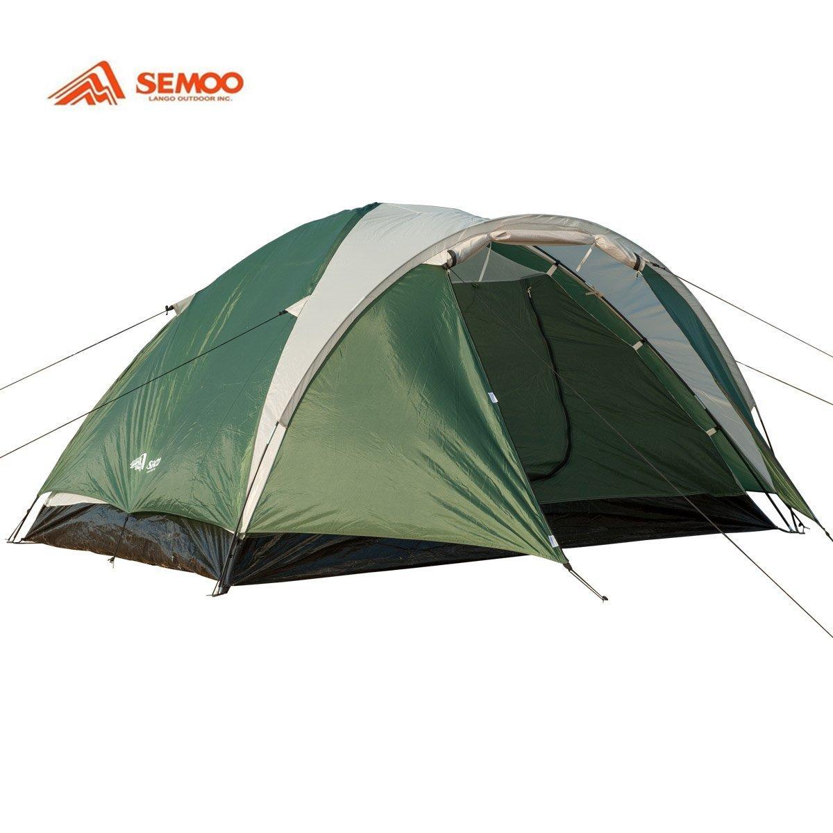 Semoo - - Semoo leichtes Zelt mit Tragetasche für 3-4 Personen - Kuppelzelt - doppelwandig - 3-Jahreszeiten Zelt - Beige Grün 06e3bd