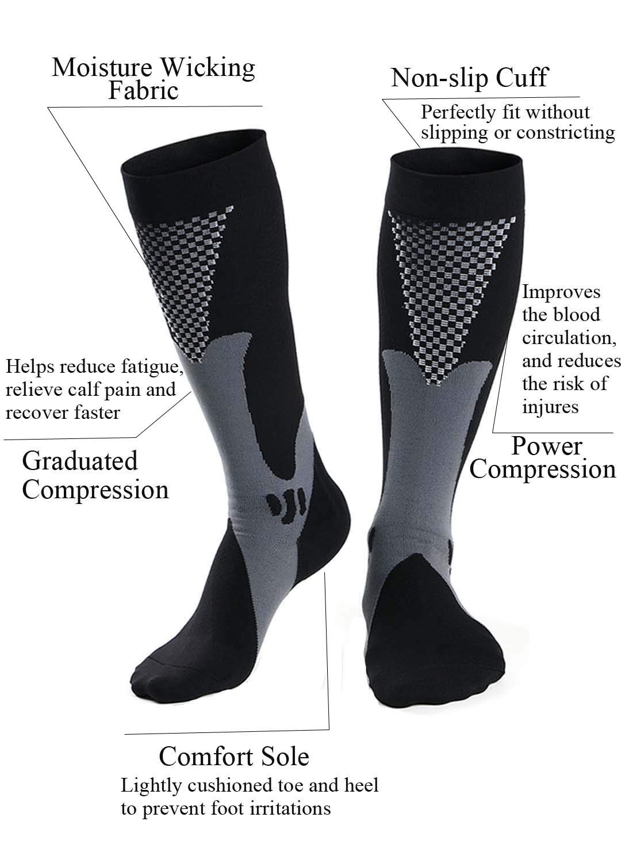 bb83ff4601 Amazon.com : Hellomamma Compression Socks for Men Women 20-30mmHg Calf  Support Knee High Sport Socks for Marathon Running Maternity Nurse : Sports  & ...