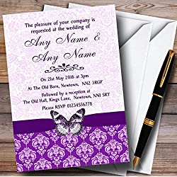 Purple Vintage Floral Damask Butterfly Personalized Wedding Invitations