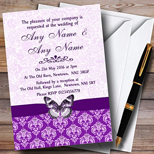 Purple Vintage Floral Damask Butterfly Personalized Wedding (Damask Wedding Invitations)