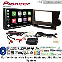 Volunteer Audio Pioneer AVH-W4400NEX Double Din Radio Install Kit with Wireless Apple CarPlay, Android Auto, Bluetooth Fits 2008-2013 Toyota Highlander with Amplified System (Brown)