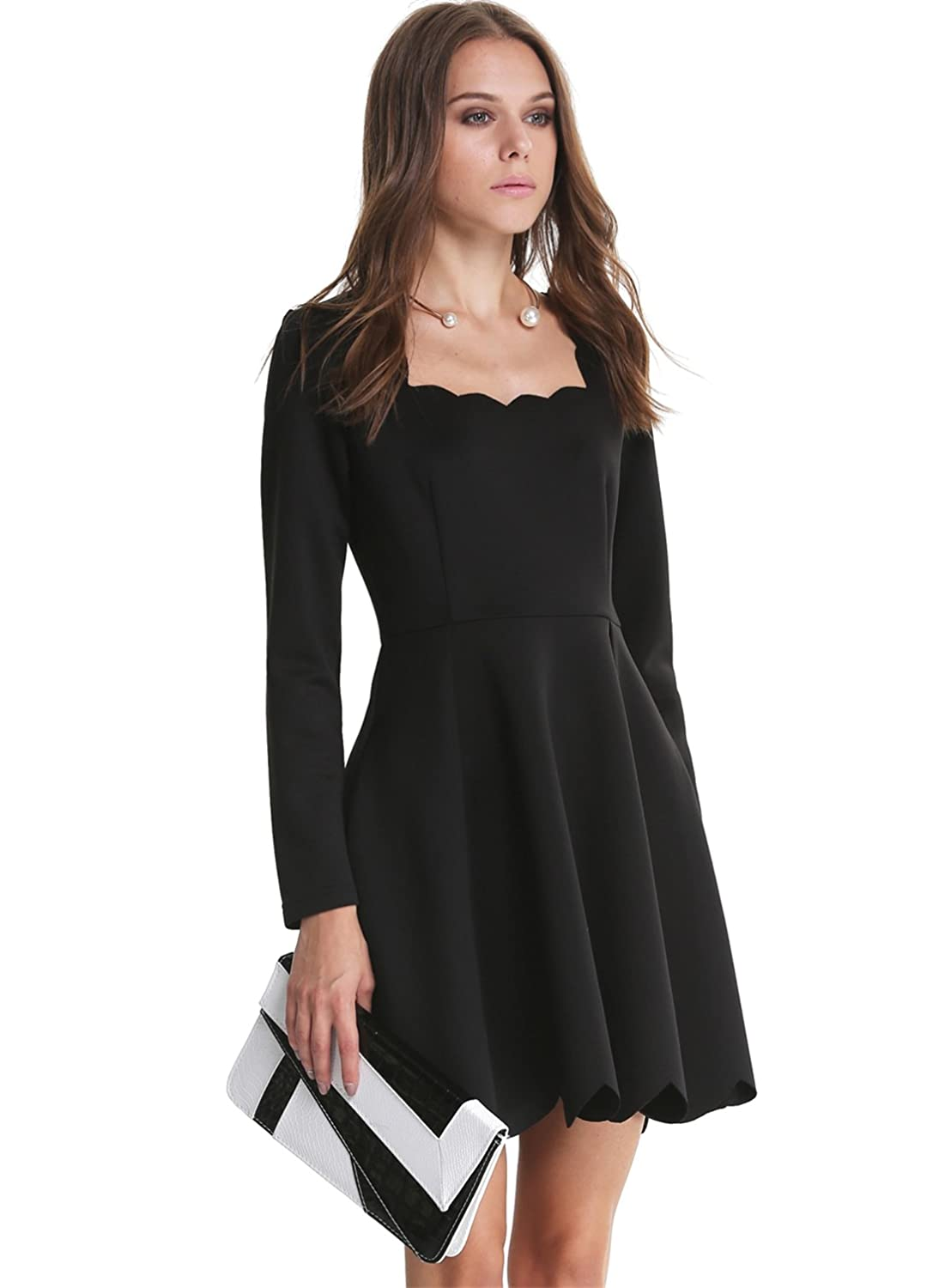 586a2eb584 Sheinside® Women's Black Long Sleeve Backless Scalloped Dress (Asian M,  Black): Amazon.co.uk: Clothing