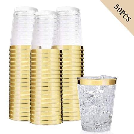12 vasos desechables de plástico transparente de color oro ...