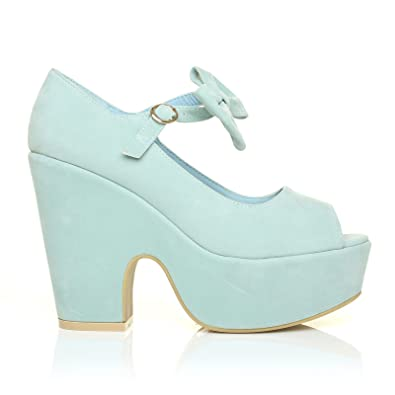 ce543c3c39d694 BOWIE Mint Green Faux Suede Cut Out Peep Toe Platform Wedges with Ankle  Strap Bow Size