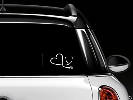 White heart stethoscope car window decal