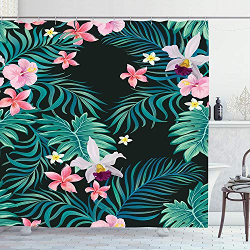 Ahawoso Shower Curtain Set with Hooks 60x72 Spring Upholstery Flower Orchid Tropical Plant Pink Palm Leaves Painting Plumeria Flamingo Trendy Bathroom Curtains Waterproof Polyester Fabric Bath Decor (Palm Upholstery Springs)