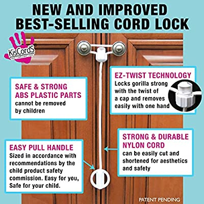 Kiscords Baby Safety Cabinet Locks for Knobs Child Safety Cabinet Latches for Home Safety Strap for Baby Proofing Cabinets Kitchen Door Rv No Drill No Screw No Adhesive/5 Pack Ez-twist