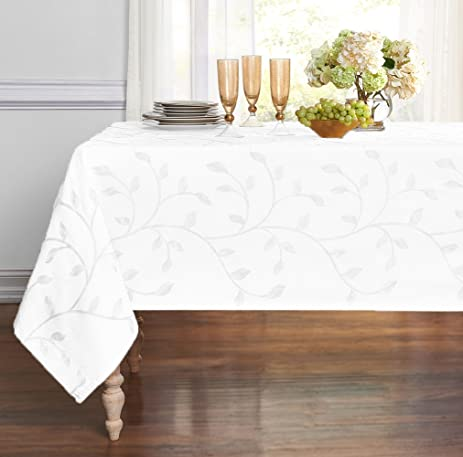 Luxurious Heavy Weight Madison Leaf Embroidered Fabric Tablecloth By  GoodGram   Assorted Colors (White,
