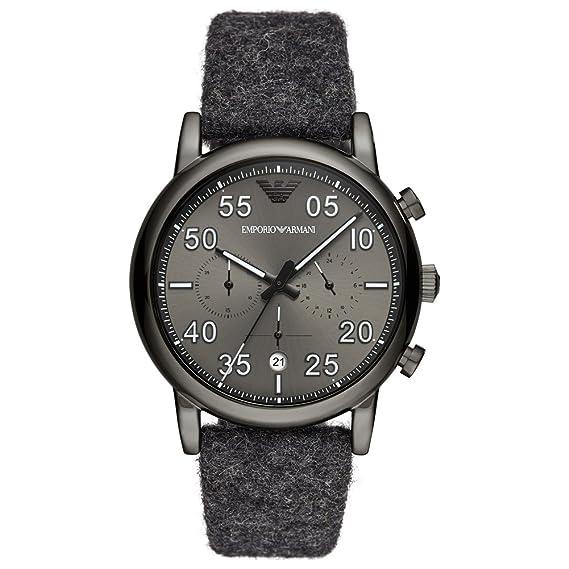 Emporio Armani Reloj Analógico para Hombre de Cuarzo con Correa en Tela AR11154: Amazon.es: Relojes
