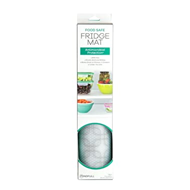 Mindfull Products Minfull Antimicrobial Fridge Shelf Liner, BPA Free, 13  x 60 , Fit to Cut, Grey Squares Design