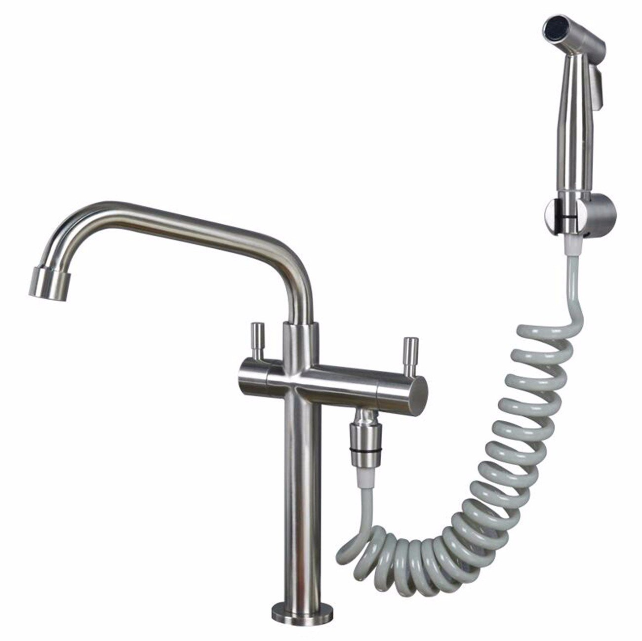 WasserhahnTap One in and two outlet taps single cold 304 stainless steel kitchen sink dishwasher swivel faucet