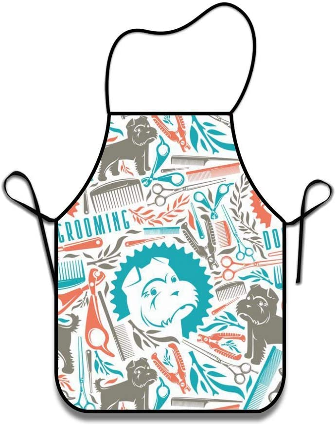 Feddiy Customized Abstract Flowers Home Kitchen Professional Chef Cook BBQ Bib Apron Dress for Womens Mens Wife Ladies