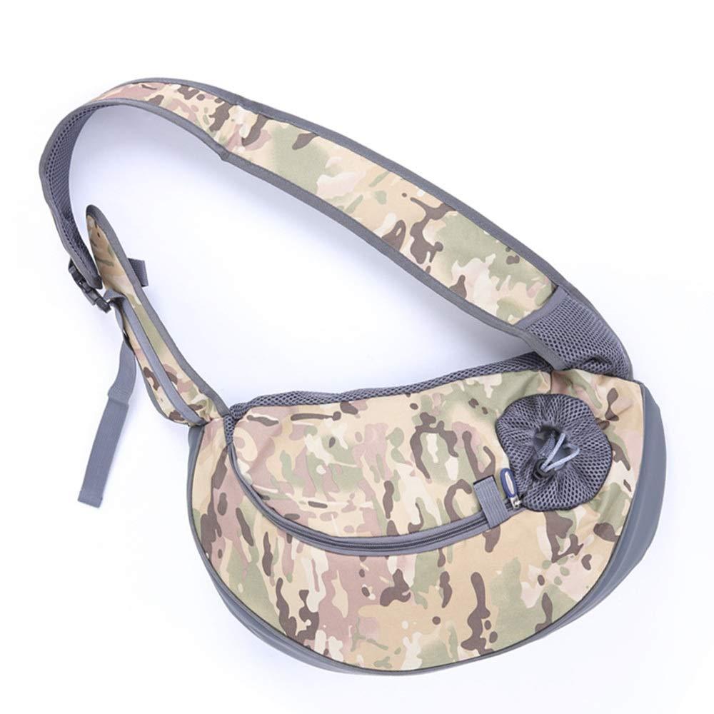 Camouflage brown 44CM12CMHYUE Pet Bag Cat Dog Travel Portable Slung Shoulder Bag Breathable Mesh Pet Backpack Portable pet Travel Bag (color   Camouflage bluee, Size   44CM12CM)
