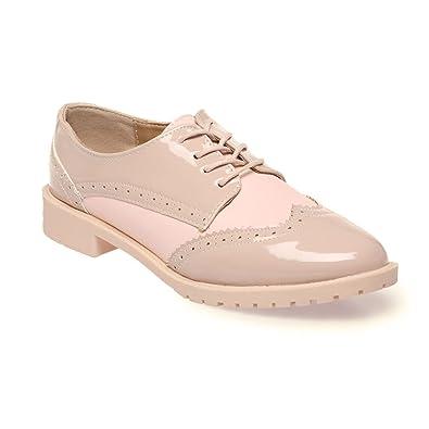 38ecc717cf21a9 La Modeuse - Derbies Bicolore Nude et Taupe: Amazon.fr: Chaussures et Sacs