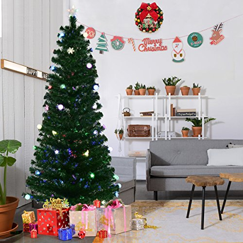 Goplus 7.5FT Fiber Optic Christmas Tree Pre-Lit Artificial Fireworks Spruce Tree w/ Multicolor LED Lights, Top Star & Blossom Bell Decorations Pre Lit Trees