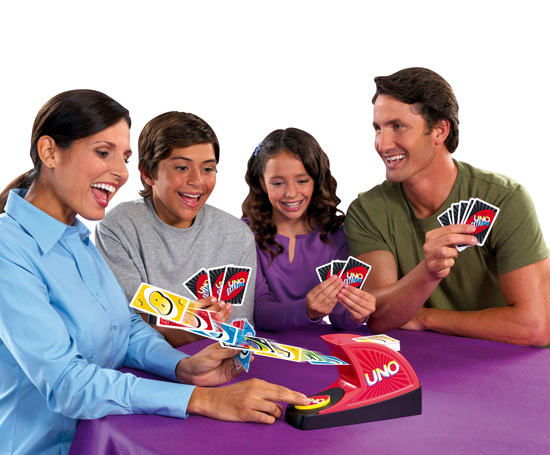 The sleek UNO Attack! game's random card shooter offers an exciting