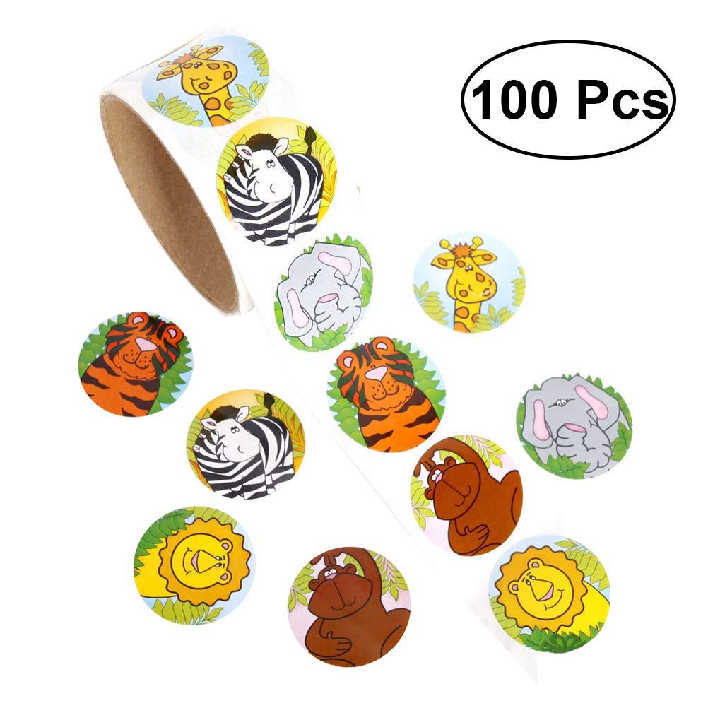 Toymytoy 1 etiquetas engomadas animales coloridas de la diversión del rollo para los niños Gran regalo de la recompensa de los favores de partido (100 etiquetas engomadas)