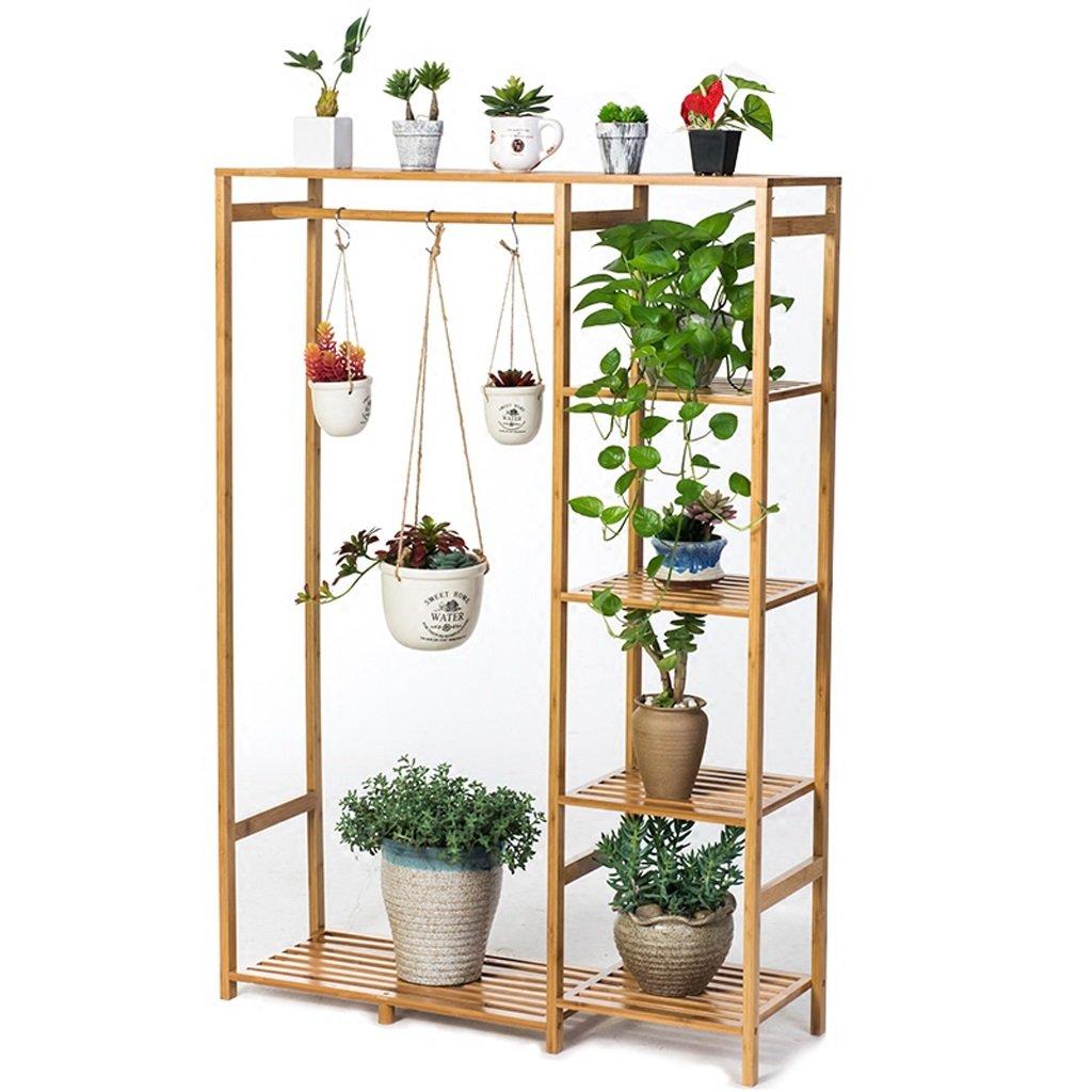 Bamboo Flower Racks, Living Room Multi-storey Plant Rack, Hanging Type Potted Display Stand, Multi-functional Storage Rack
