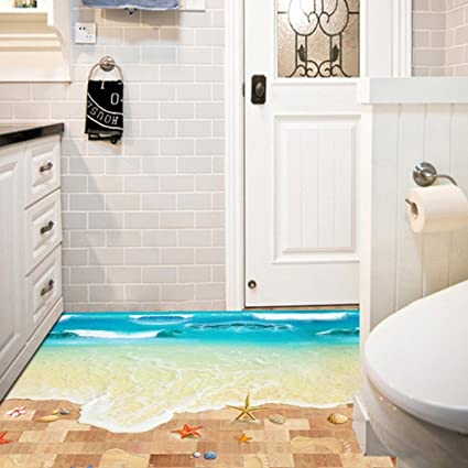 amazon com wall sticker saingace home decor 3d beach floor wall