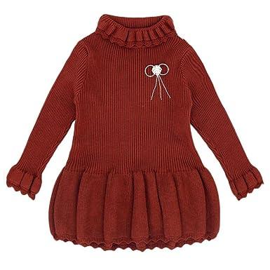 Longra Baby Kinder Mädchen Solid Strickpullover Winter Warm Sueter ...