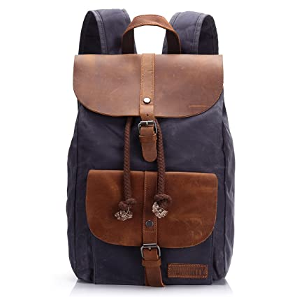 651dbe55823d Amazon.com  Waxed Canvas Leather Laptop Backpack 15.6 Inch Travel ...