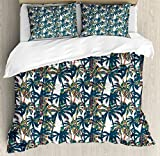 Palm Leaf Duvet Cover Set Queen Size by Ambesonne, Vintage Pattern with Trees Colorful Design Elements Exotic Dreamy Hawaii, Decorative 3 Piece Bedding Set with 2 Pillow Shams, White Black Red
