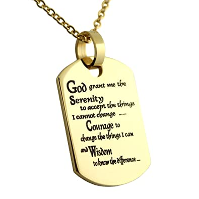 Amazon serenity prayer dog tag pendant necklace gold colored serenity prayer dog tag pendant necklace gold colored ion plated with 18 inch chain 12 aloadofball Images