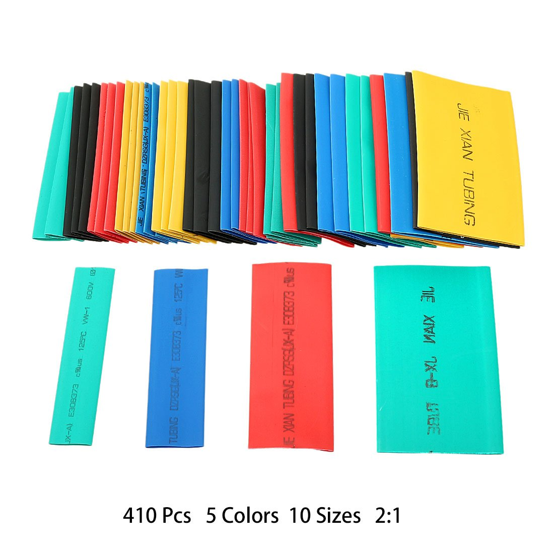 uxcell 410Pcs 2:1 Heat Shrink Tubing Tube Sleeving Wire Cable 5 Color 10 Sizes by uxcell (Image #2)