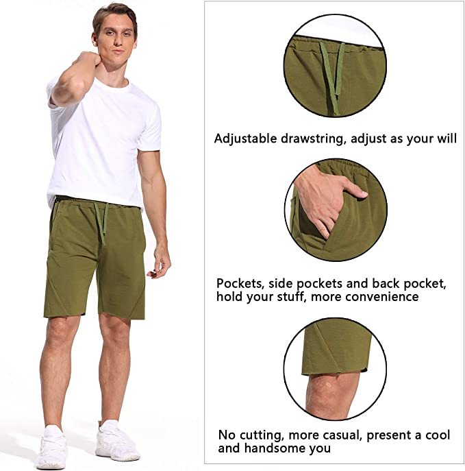 STARBILD Men 2 in 1 Quick Dry Jogging Running Sports Drawstring Shorts with Phone Pockets