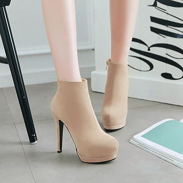 Aisun Damen Sexy Plateau Stiletto High Heels Kurzschaft Martin Boots Stiefel Mit Reißverschluss Braun 40 EU H0mgeuk4