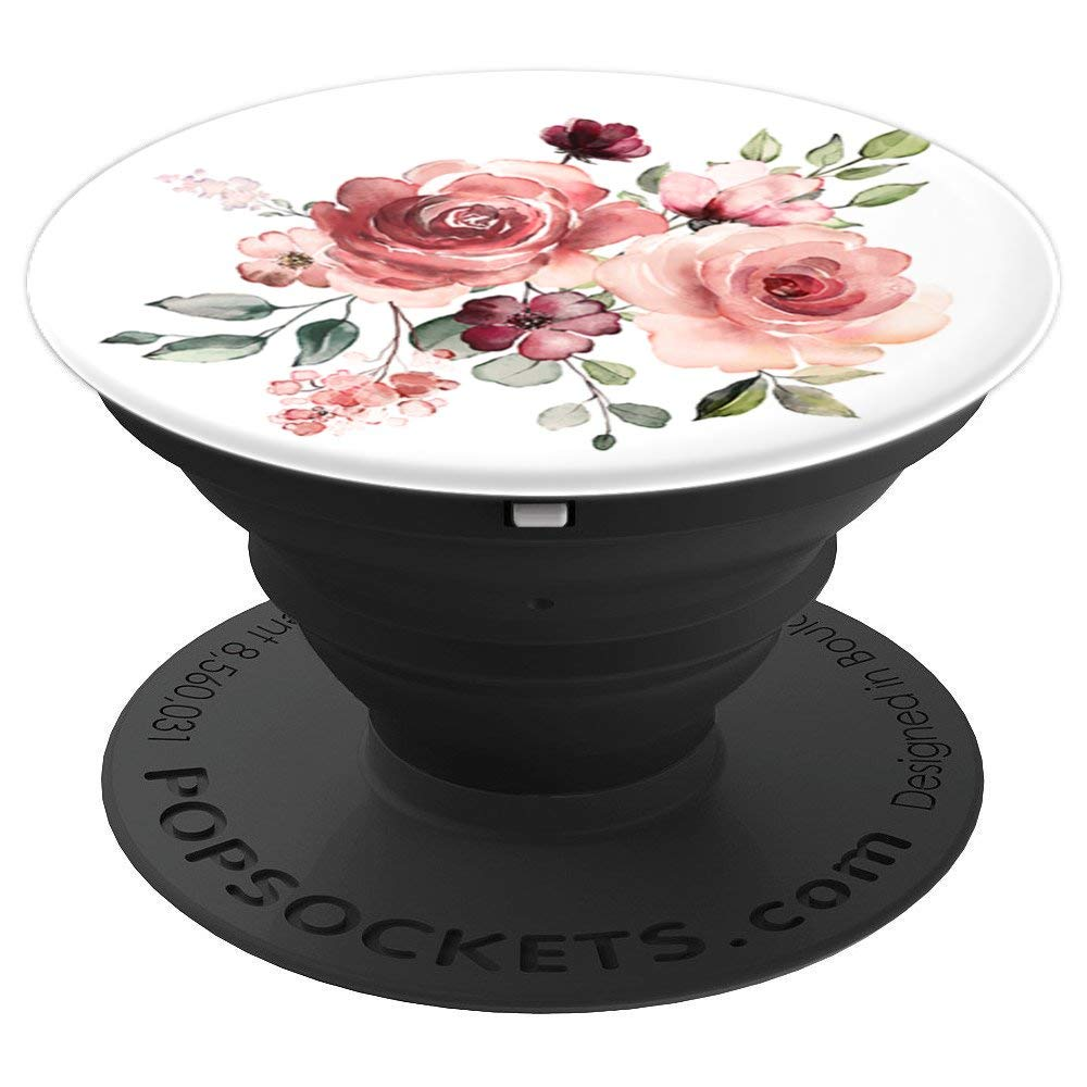 Maroon and Peach Floral Bouquet Pop Socket: PopSocket Flower - PopSockets Grip and Stand for Phones and Tablets by Lavender Tech