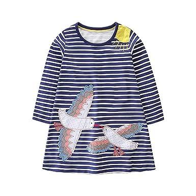 fa8b4140418e HILEELANG Girls Cotton Dress Stripe Long Sleeve Casual Cartoon Animal Print  Applique Long Shirt for Legging