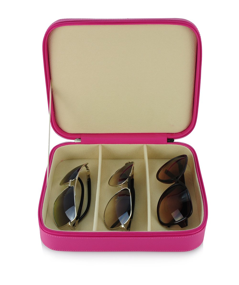 3 Piece Pink Extra Large Travel Eyeglass Sunglasses Glasses Zippered Case