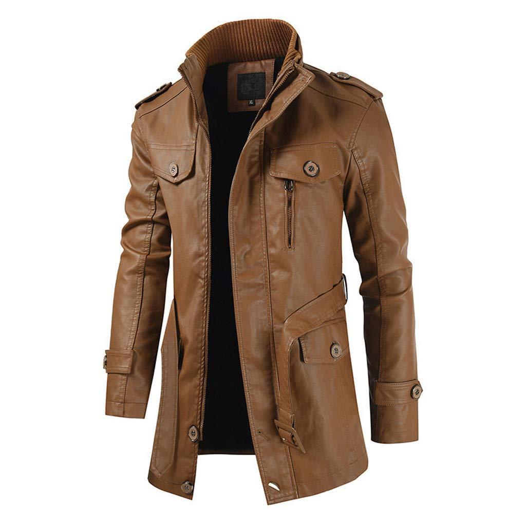 R-Cors Giacca in Pelle Casual da Uomo Cappotti Uomo Inverno Cappotto Uomo Vintage Caloroso Cappotto Antivento Blazer Uomo Slim Fit Giacche Impermeabili