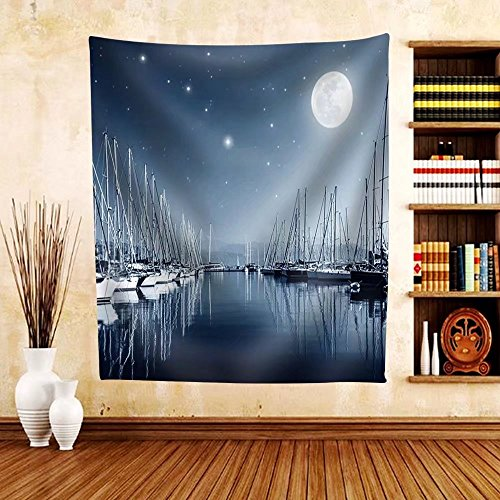 Gzhihine Custom tapestry Beautiful Landscape of Yacht Harbor at Night Full Moon Marina in Bright Moonlight - Fabric Tapestry Home Decor - National Harbor Outlets At