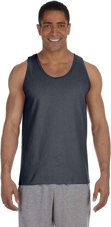 Gildan Men's Preshrunk Banded Bottom Hem Tank Top, Charcoal, XX-Large