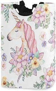 Pink Floral Unicorn Laundry Hamper Laundry Basket Dirty Clothes Bag Cartoon Magic Head Flower Foldable Bucket Washing Bin Toys Storage Organizer for College Dorms, Kids Bedroom,Bathroom