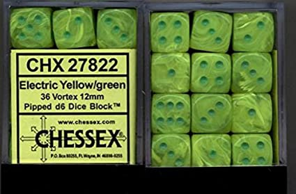 Amazon Com Chessex Dice D6 Sets Vortex Marble Electric Yellow With Green 12mm Six Sided Die 36 Block Of Dice Toys Games