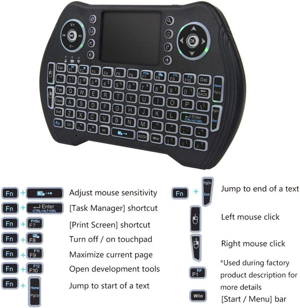 Whatyiu 1Pc Air Mouse 2.4GHZ Mini Wireless Keyboard Touchpad for Android//PC