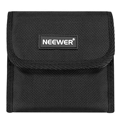 Neewer Camera Lens Filter Case Pouch for Circular or Square Filters within 2.8 inches width and 3.1 inches length, Made of Nylon and Velvet, Portable and Durable (10 Pockets, Black)