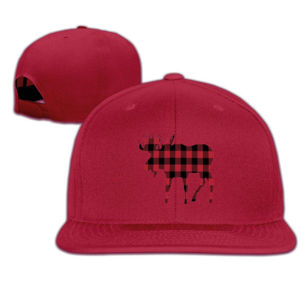 Plain Fashion Adjustable Buffalo Plaid Moose Red Black Cap Sun Hats