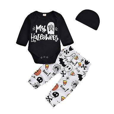 Halloween 3Pcs Cute Newborn Baby Romper Tops Pants Clothes Outfits  NEU