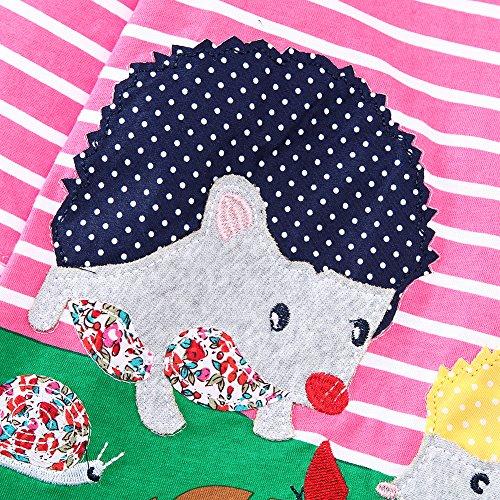 Kidsalon Vestito Girocollo Cotone Lunga Manica Riccio Animali Bambine Stampa rqE7rXw