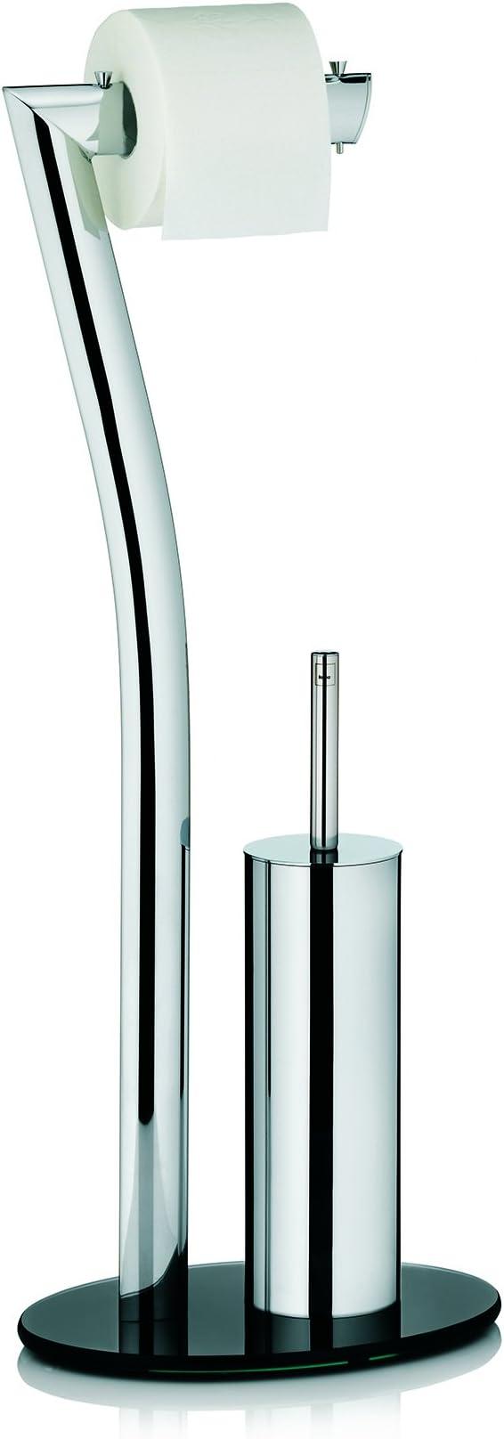 Kela WC Bürstentopf und Papierhalterung Toilettengarnitur Metall Seven 71cm Verchromt
