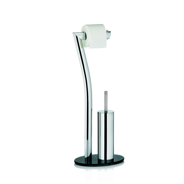 Kela 21882 set WC support papier toilette + brosse - métal chromé brillant et verre noir - 'Seven'