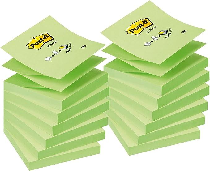 Post-it Pack 12 Blocs Notas Z-Notes Verde Pastel/Neón alternos ...